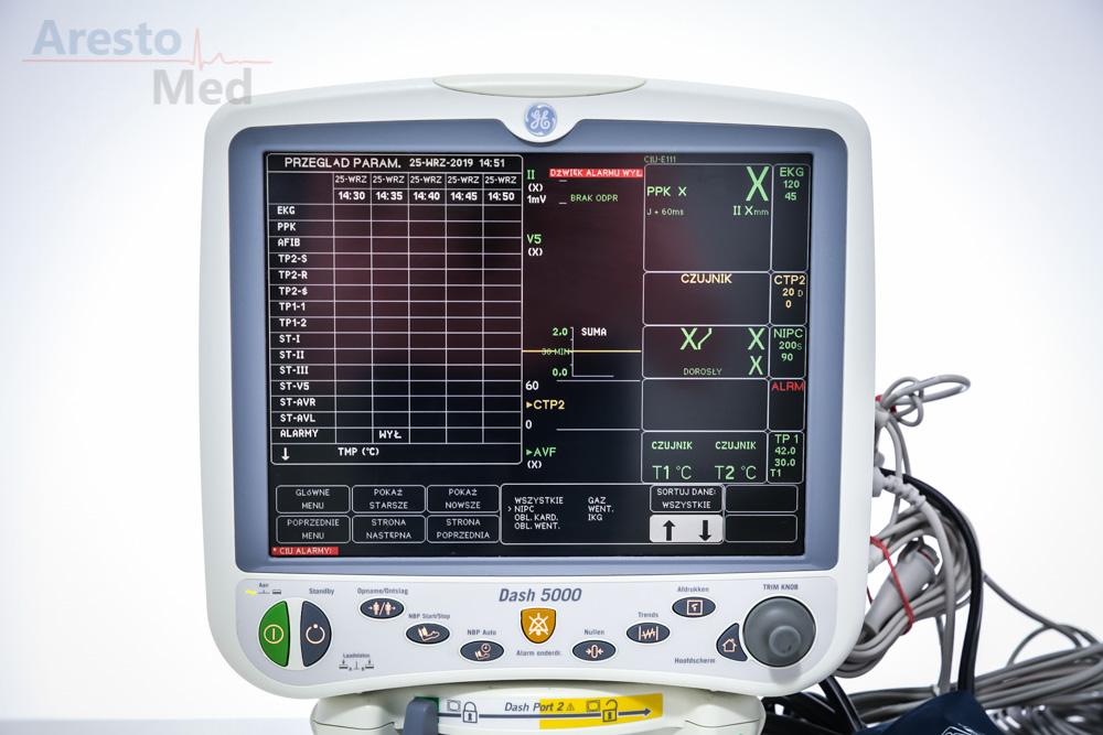 Kardiomonitor GE DASH 5000 z kapnografią Monitor pacjenta
